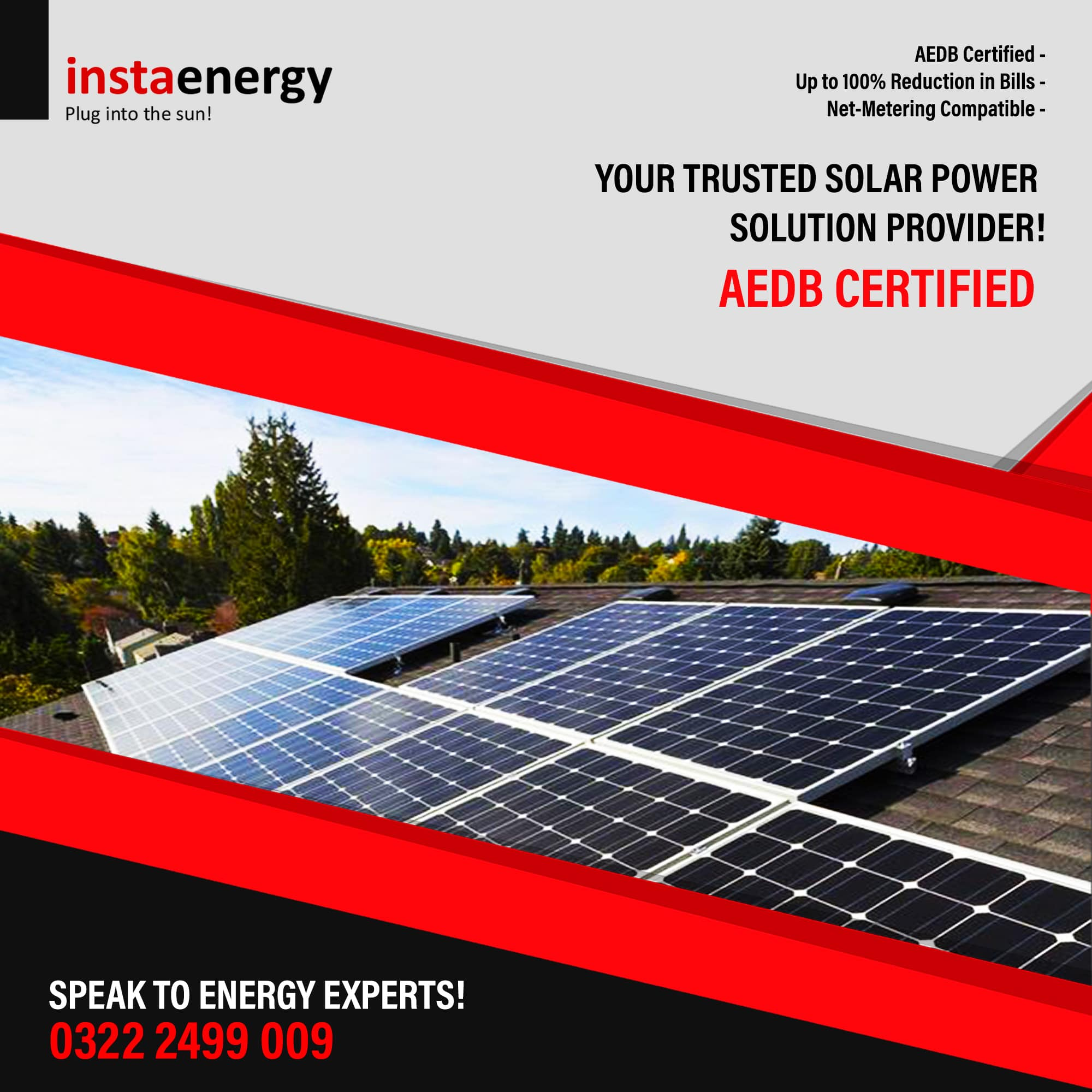 AEDB certificate banner showing solar panels